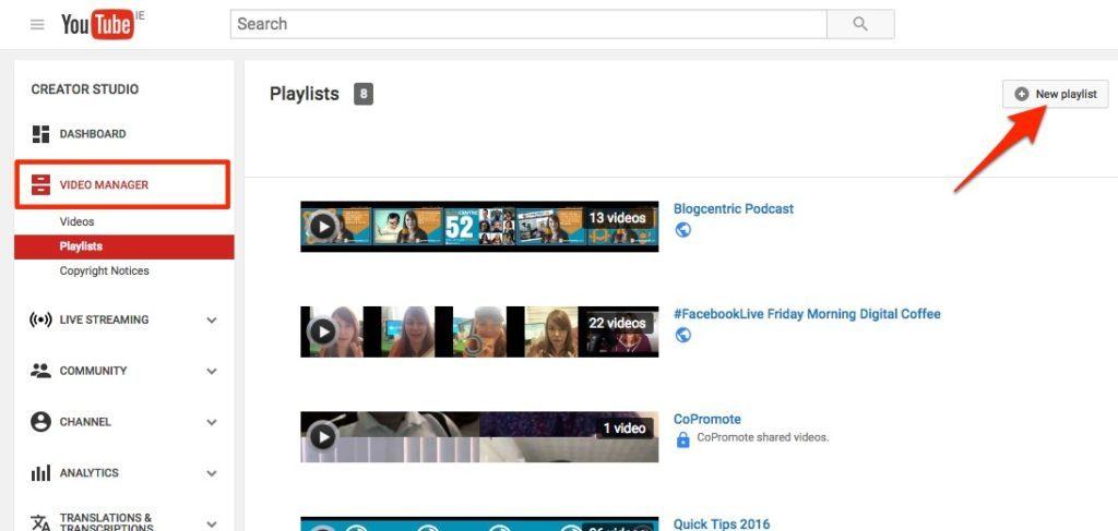 youtube seo -create youtube playlist